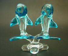 Glass DOLPHIN Ornament Clear & Turquoise Painted Curio Figures Glass Animals