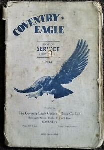 Coventry Eagle 1934 Book of Service Manual original combined manual parts Book