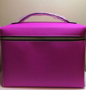 Estee Lauder Signature Cosmetic Bag Train Case Faux Leather PINK GWP NEW