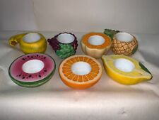 PartyLite retired votive and tealight holders fruits and veggies, used, 7 items