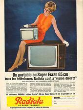 Publicité 1964  Téléviseurs RADIOLA du portable au super écran 65 cm