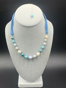 Honora Sterling Blue/Gray Pearl Suede Necklace