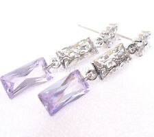 Women Long Dangle Earrings Lavender Purple Cubic Zirconia CZ White Gold Plated