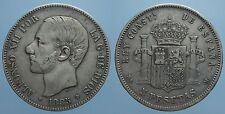 SPAGNA 5 PESETAS 1885 (86) MS M ALFONSO XII qBB
