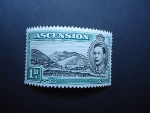 1938 1d black & green ASCENSION ISLAND Mint hinged MH SG39 (Perf 13.5)
