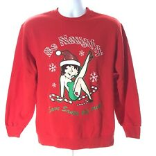 "Betty Boop ""Be Naughty"" Novelty XMAS SWEATER Sz M, Pullover Sweatshirt,"