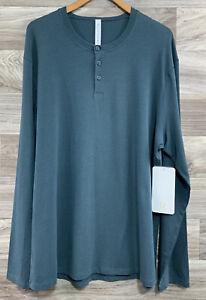 Lululemon 5 Year Basic Long Sleeve Henley - Sz XL, Antigua ANTA Green Teal 83239