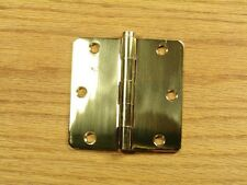 "Polished Solid Bright Brass 3 1/2"" Door Hinges 1/4"" rad"