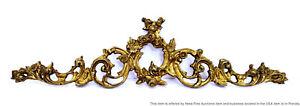 "Lg Vintage 17"" Brass Bronze Ormolu Floral Molding Bracket For Mirror Clock Chest"