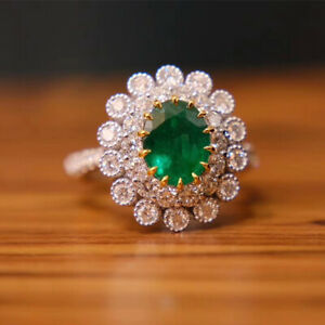 Natural Green Emerald Diamond Engagement Wedding Lady Rings Solid 14karat Gold