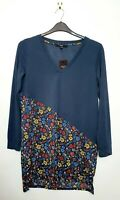 Next Navy & Bright Floral Long Sleeve Tunic Top (UK Size 12) Light Weight Jumper