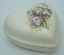 Porcelain Ceramic Lid Jewelry Chest Trinket Box Dish Heart Floral V B Athena