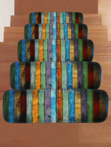 Soft Shaggy Carpet Stair Treads NON-SLIP MACHINE WASHABLE Mat/Rug 10pcs 22x70cm