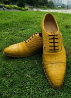 Chaussures habillées à lacets en cuir jaune véritable pour hommes faits à la