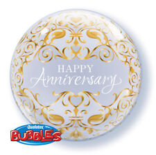 "22"" Qualatex BUBBLES Classic ANNIVERSARY Clear & Gold 50th Party Balloon"
