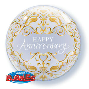 """22"""" Qualatex BUBBLES Classic ANNIVERSARY Clear & Gold 50th Party Balloon"""