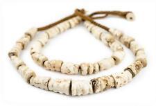 Ridged Barrel Naga Conch Shell Beads 15mm Nepal White Unusual Large Hole