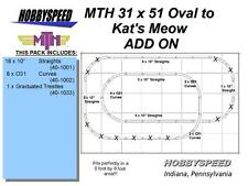 MTH REALTRAX 31x51 OVAL TO KAT'S MEOW TRACK LAYOUT ADD-ON-PACK O GAUGE NEW