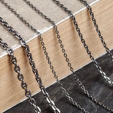 vintage Men Women 925 Sterling Silvre square Chain Link Necklace