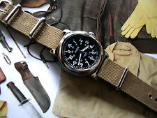 NATO ® WWII Military Watch vintage Army design 21J Auto SS Sapphire IW SUISSE US