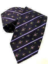 PAUL SMITH Corbata 8cm bordado Lazo Floral Violeta 100% Seda Hecho en Italia