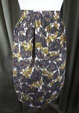 Vintage 50s Pinny Pinafore Pocket Apron Leaf Leaves Brown Green
