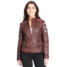Black Rivet Womens Distressed Stars Stripes Leather Jacket Lacing Detail Small S