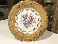 """1 Hutschenreuther Kohenberg Bavaria Floral 22K Gold 10&1/8"""" Dinner Plate"""