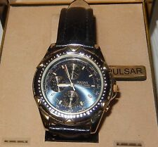 PULSAR WORLD TIMER CHRONOGRAPH 40MM MEN WATCH WITH BLACK LEATHER BAND IN BOX