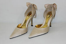 FREE SHIPPING Luichiny Womens Size 6 M Satin Taupe High Heels Shoes Bows NEW