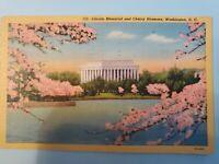 Vintage Postcard Lincoln Memorial And Cherry Blossoms Washington DC 1953