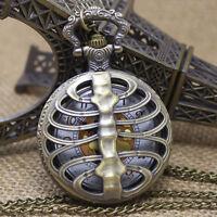 Halskette Taschenuhr Anhänger Uhr Anatomie Skelett Brustkorb Gothic Punk NEU