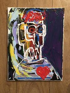 Jean Michael Basquait Style Acrylic Painting On Canvas