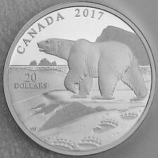 Canada 2017 $20 Nature's Impressions: Polar Bear, 1 oz Pure Silver Proof Coin