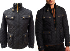 SUPERDRY Mens £94.99 Black 'APEX' Quilted MOTORCYCLE JACKET Size S #5108