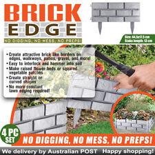 Easy to interlock hammer into soil Brick Edge Garden Edging Grey  4-Pack