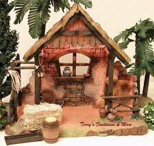 "FONTANINI DEPOSE ITALY 5"" LITED NATIVITY VILLAGE STABLE w/5 ACCESS 55539 GC BOX"