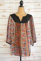 Carole Little - Multicolor FLORAL peasant BOHO sheer top blouse, size 1X