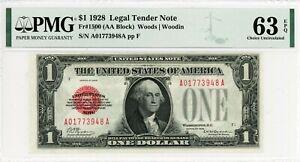 $1 1928 Legal Tender  Fr#1500 (AA Block)  A01773948A  PMG 63 EPQ
