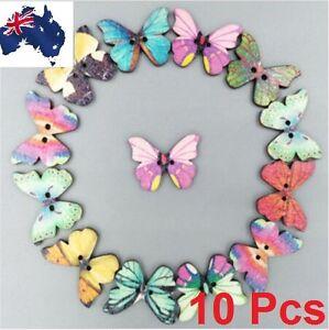 10Pcs Mixed Bulk Butterfly Phantom Wooden Sewing Button Scrapbooking 2 Holes Gif