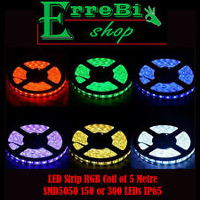 STRISCIA ADESIVA LED SMD LUCE MULTICOLOR 5050 150LED BOBINA 5 MT IP65 STRIP RGB