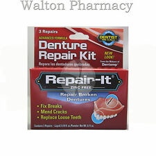 DENTEMP REPAIR-IT EMERGENCY DENTAL REPAIR KIT  BROKEN CRACKED DENTURES 3 repairs