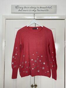 Mint Velvet Top UK 12 Pink Knit Cashmere Blend Silver Foil Stars Pullover Smart