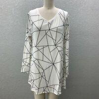 Lularoe T-Shirt Tunic Top Women's M Black White Knit V-Neck Long Sleeve Tee
