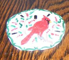 Handpainted Holiday Holly Red Cardinal Sand Dollar Pin Brooch