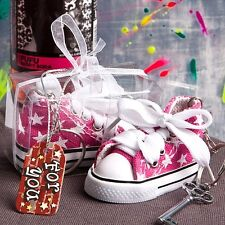 Oh-so-cute Pink Star Sneaker Key Chain Favor Baby Shower Gift Favors