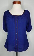 Womens Express Blouse Shirt  Blue  Button Front  Size XS  Top Career Office