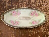 Vintage Porcelain Pink Rose Oval Dish Made In Bavaria