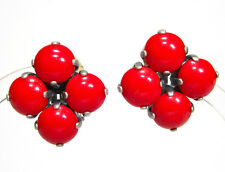 SoHo® Ohrclips quadrat mit vintage bohemia Glas cherry red knallrot 1960er Jahre