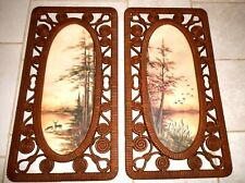 Two Vintage Syroco 1979 Faux Wicker Autumn Theme Wall Hangings Large